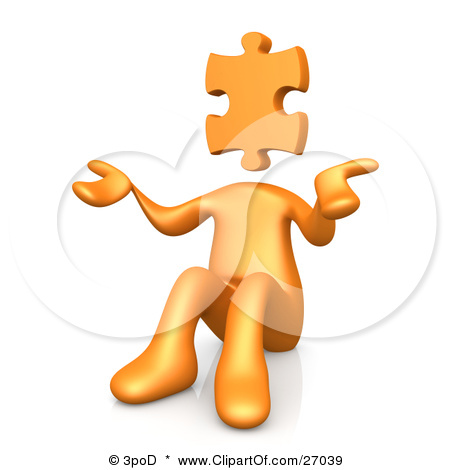 27039-Clipart-Illustration-Of-An-Orange-Person-With-A-Jigsaw-Puzzle-Piece-Head-Sitting-And-Shrugging-Symbolizing-Uncertainty-Or-Confusion
